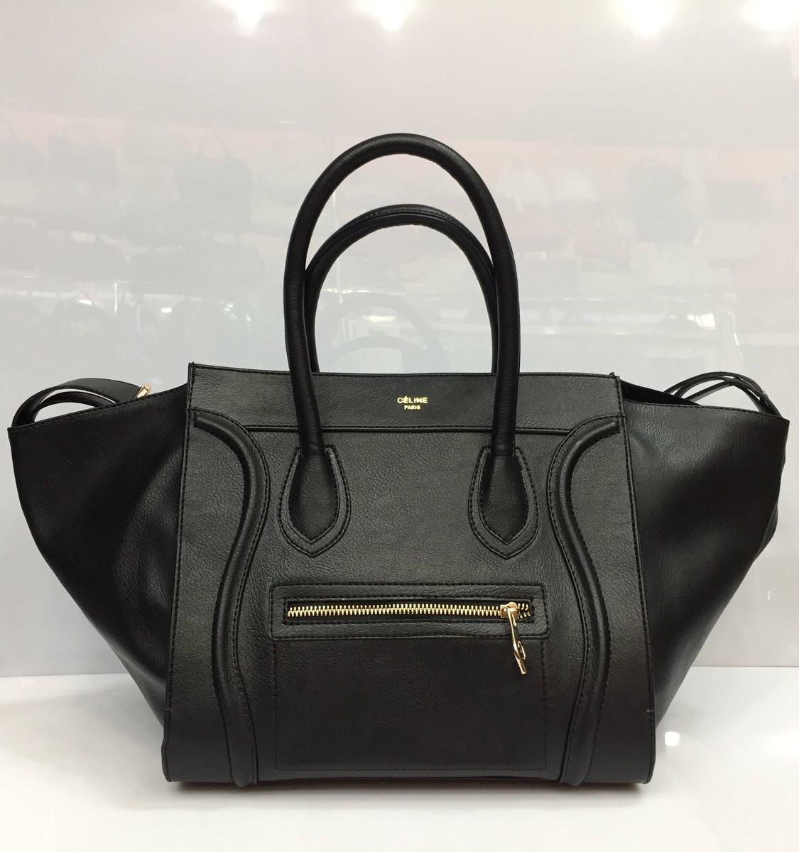 1e2d54f8407f Женская сумка Celine Phantom 2020 черная классическая из искусственной кожи  копия черная