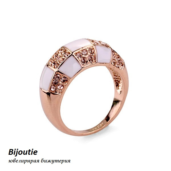 Кольцо АМЕЛИ ювелирная бижутерия золото 18к декор кристаллы Swarovski