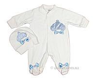 Велюровый человечек для новорожденного белый Esa Baby 658 р.68 белый с голубым