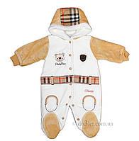 Утепленный человечек для мальчика на махре Bestido 4403 р.56 белый с коричневым