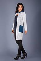 Вязаное пальто из теплой вязки с капюшоном светло-серый/индиго