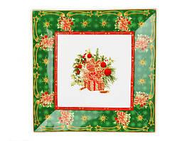 Блюдо квадратное керамическое зеленое Рождественская коллекция 22 см 586-221