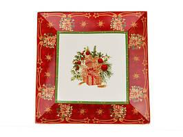 Блюдо квадратное керамическое красное Рождественская коллекция 22 см 586-222