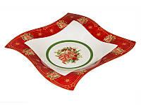 Блюдо фигурное керамическое красное Рождественская коллекция 26 см 586-224