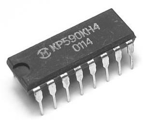 КР590КН4 DIP16 четырехканальный аналоговый ключ со схемой управления (однополюсное переключение, SPDT)