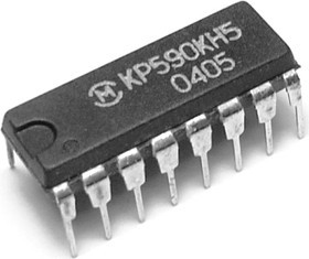 КР590КН5 DIP16 четырехканальный аналоговый ключ со схемой управления, однополюсное включение (SPST)