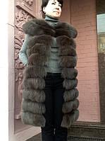 Жилет Braschi длинный , мех песец натуральный , цвет соболь , трансформер ., фото 1
