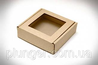 Коробка для печива, пряників, з вікном бура, 10 см х 10 см х 3 см, мікрогофрокартон