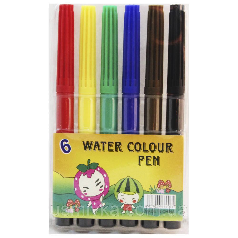"""Фломастеры для рисования на бумагеSAT """"Water colors pen"""" 6 шт. FK102623-6"""