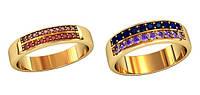 Элегантные золотые обручальные кольца 585* пробы с камнями