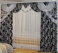 Ламбрекен со шторами в зал, спальню Блэкаут Черный 243