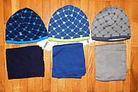 Детские теплые шапка+шарф для девочки Стайл 48/52 рр