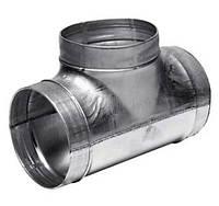 Тройник вентиляционный из оцинкованной стали для круглых каналов 140/125, Вентс, Украина