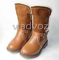 Зимние кожаные сапоги для девочки коричневые 29р., фото 2