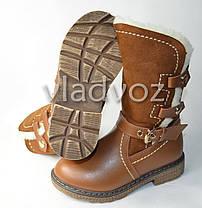 Зимние кожаные сапоги для девочки коричневые 29р., фото 3