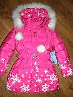 Зимнее пальто (пуховик) для девочки р104,110,128, утеплено холлофайбером