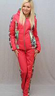 Женский зимний  костюм с плащевки,цвет коралл р-42-54