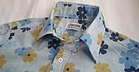 Mужская рубашка в цветах голубая Размер М Слим фит