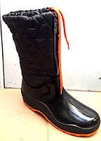 Женские резиновые сапоги с утеплителем черные RS0010
