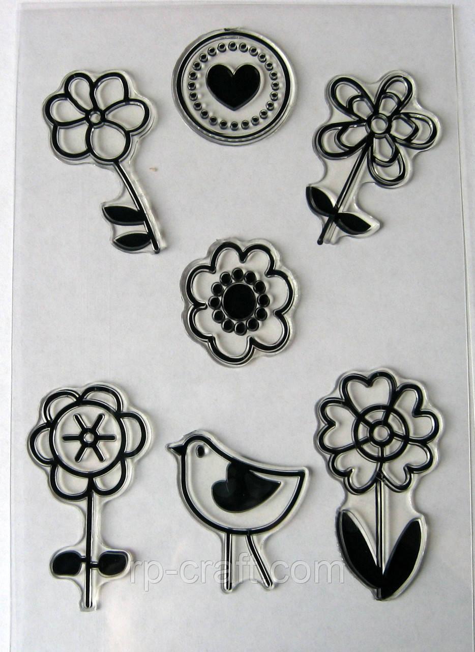Набор силиконовых штампов, цветы и птичка