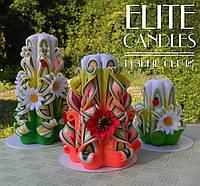Интерьерный набор резных свечей ручной работы, все свечи украшены ромашками