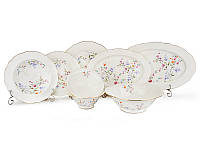 Столовый набор тарелок (18 шт), салатников (3 шт) и блюд (2 шт) фарфоровый 23 предметов 586-313