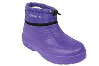 Галоши женские меховые ЭВА со шнурком фиолетовые