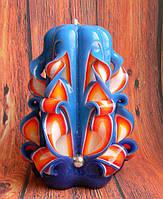 Резная свеча пламенная. Высота свечи 12 см, украшена бусинками, сделана вручную