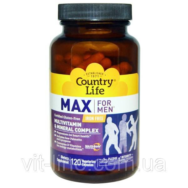 Country Life, Max для мужчин, Мультивитаминная и минеральная добавка без железа, 120 растительных капсул