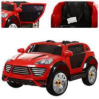 Детский электромобиль с мягкими колесами Porshe Cayene M 2735 EBLR-3 красный, кожаное сиденье
