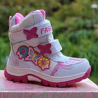 Теплые зимние ботинки для девочки на липучках