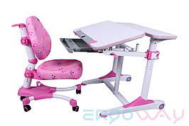 Комплект Детская парта растишка трансформер Ergoway T350M + кресло M350 Pink + ПОДАРКИ