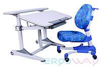 Комплект Детская парта растишка трансформер Ergoway T350M Gray + кресло M350 + ПОДАРКИ