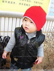 Красная двойная шапка на ребенка Рубчик. Головные уборы.Детские шапки