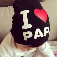 Стильная шапочка  на деток Mama, Papa