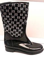Женские стильные резиновые сапоги с орнаментом Uk0142