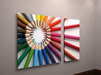Яркий декор для детской комнаты картина Цветные карандаши  Яркая настенная картина 100х60 из 2х частей