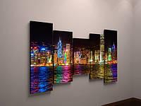 Картина модульная ночной город холст