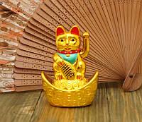 Кот Манэки Нэко в чаше изобилия на батарейке золотой