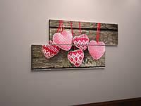 Картина модульная сердце холст
