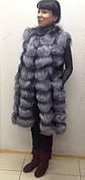 Жилет натуральный женский длинный из меха лисы чернобурки., фото 1