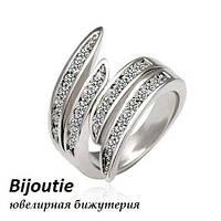 Кольцо КВАДРО ювелирная бижутерия белое золото 18к декор кристаллы Swarovski