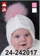 Шапка для девочки с натуральным мехом  арт. 24-242017