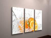 Картина модульная для кухни апельсины часы