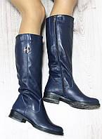 Зимние натуральные кожаные сапоги с молнией по всей длине синиего цвета