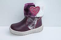 Детская зимняя обувь. Сапожки для девочек от фирмы Lilin Shoes 1615C Сливовый (12/6 пар, 22-27)