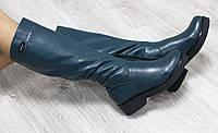 Зимние натуральные кожаные сапоги зеленого цвета