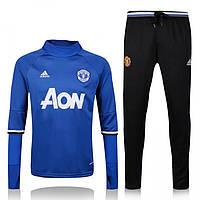 Спортивный костюм Adidas, Манчестер Юнайтед (синий). Футбольный, тренировочный. Сезон 16/17 (реплика)