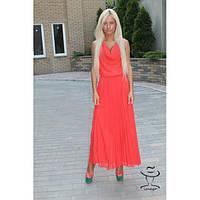 Женское Платье из шифона кораллового цвета юбка плиссе  Азиза