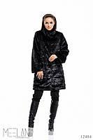 Женское меховое пальто расклешенное с широкими рукавами